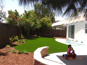 Finished artifical grass lawn